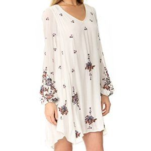 FREE PEOPLE Ivory Red Embroidered Swing Mini Dress